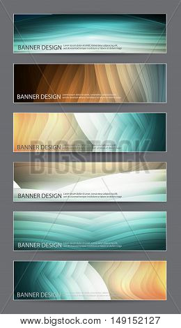 set of six abstract banners in blue tones