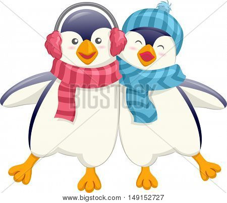Mascot Illustration of a Cute Pair of Friendly Penguins in Earmuffs and Scarves Wobbling as They Walk