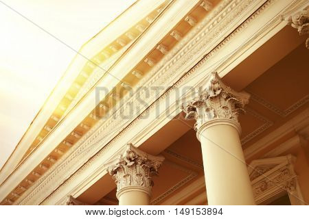 Pillars of courthouse in retro style poster