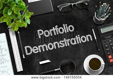 Portfolio Demonstration - Text on Black Chalkboard.3d Rendering.