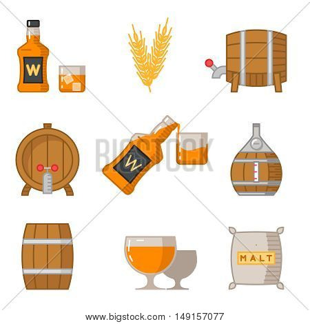 Whisky flat line art vector icons. Beverage scotch whisky and set of icon produce whisky illustration