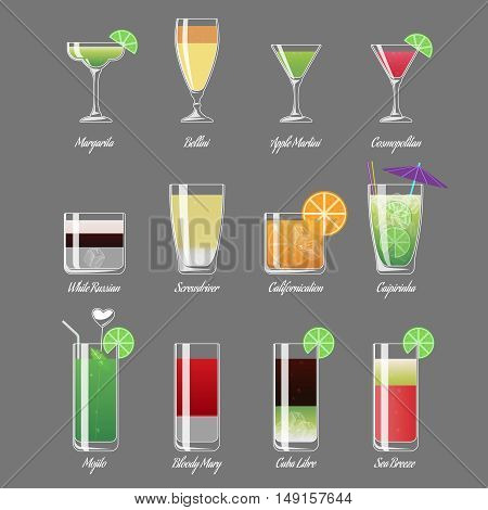 Alcoholic cocktails vector illustration. Mojito and caipirinha, margarita and cosmopolitan. Alcohol beverage cocktail white russian, drink fresh cocktail