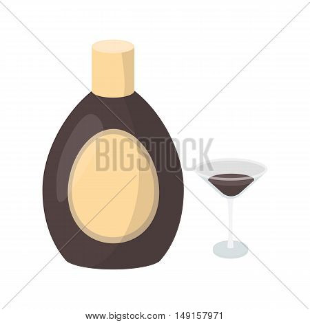 Chocolate liqueur icon in cartoon style isolated on white background. Alcohol symbol vector illustration.