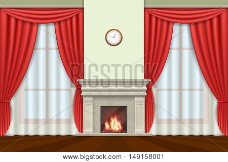 Classic interior. Living room interior with curtains and fireplace, vector illustration