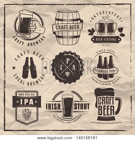 Vector craft beer labels and logos. Set of retro beer badges on a retro paper background