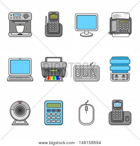 Set of various office equipment, symbols and objects. Colorful outlined icon collection. Vector illustration. Telephones, fax, printer, monitor, laptop, coffee maker, web camera, water cooler.