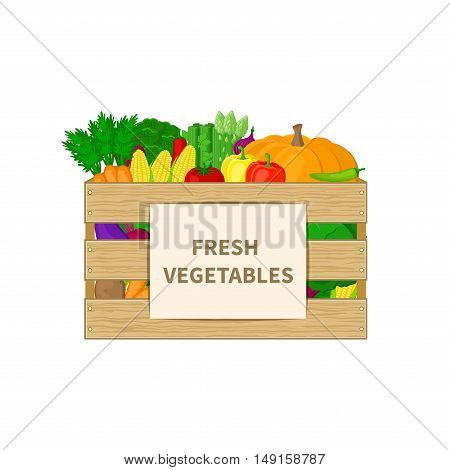 Vegetables in a wooden box with Fresh Vegetables text. Organic food illustration. Fresh vegetables from the farm. Natural, healthy food concept. Vector illustration