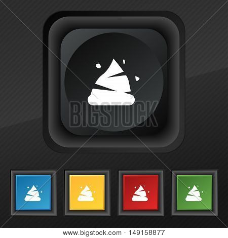 Poo Icon Symbol. Set Of Five Colorful, Stylish Buttons On Black Texture For Your Design. Vector