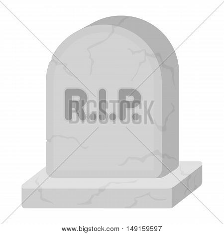 Headstone icon in cartoon style isolated on white background. Black and white magic symbol vector illustration.