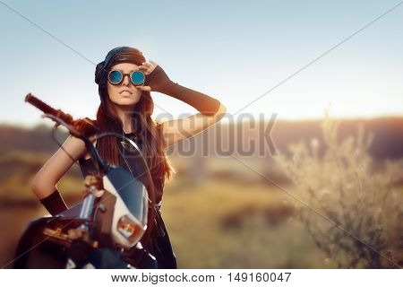 Cosplay Steampunk Woman Next to Her Motorcycle