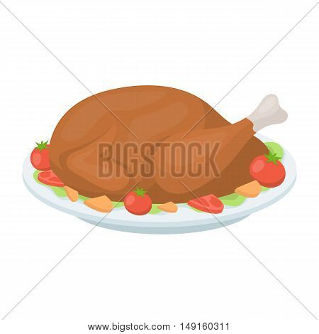 Roasted turkey icon in cartoon style isolated on white background. Canadian Thanksgiving Day symbol vector illustration.