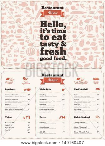 Restaurant Menu brochure - graphic design template. Homemade / natural food concept.