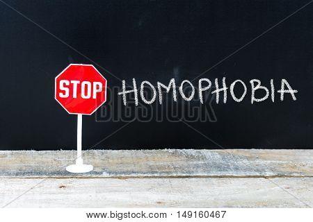 Stop Homophobia Message Written On Chalkboard