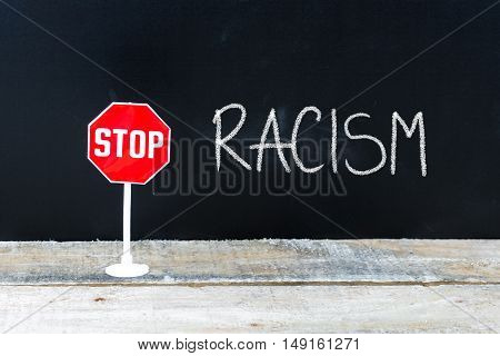 Stop Racism Message Written On Chalkboard