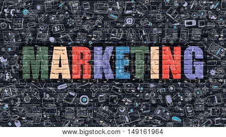 Marketing Concept. Modern Line Style Illustration. Multicolor Marketing Drawn on Dark Brick Wall. Doodle Icons. Doodle Design Style of  Marketing Concept. Marketing on Dark Brick Wall. Marketing.
