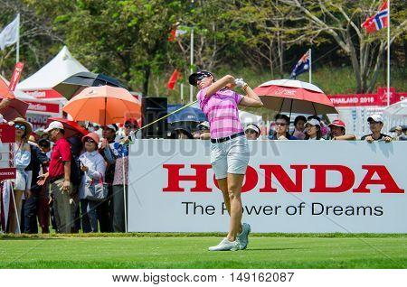 CHONBURI - FEBRUARY 28 : Kris Tamulis of USA in Honda LPGA Thailand 2016 at Siam Country Club Pattaya Old Course on February 28 2016 in Chonburi Thailand.