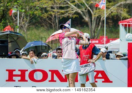 CHONBURI - FEBRUARY 28 : Paula Creamer of USA in Honda LPGA Thailand 2016 at Siam Country Club Pattaya Old Course on February 28 2016 in Chonburi Thailand.