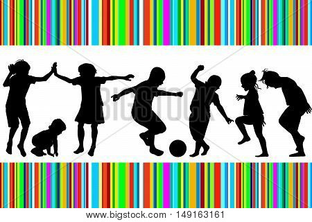 Card with silhouettes of children playing and colored stripes
