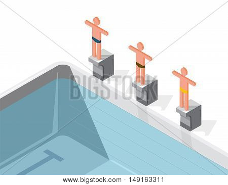 Swimming pool with swimmers, isometric. Sportsmen on springboard prepare to swim in water. Race swimmers start to jump. Sport article illustration. Pictogram 3d element. Flatten isolated master vector