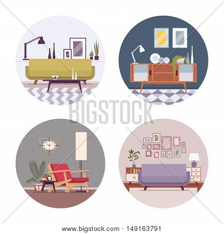 Set of retro interiors in a circle with sofa, divan, standing lamp, wallclocks, pictures in a circle. Cartoon vector flat-style illustration