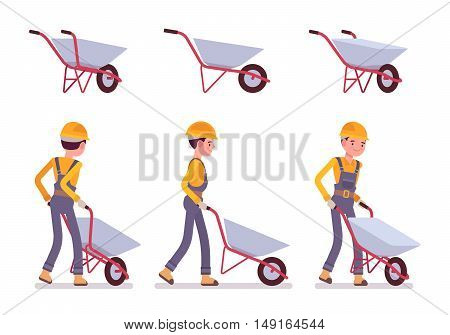 Set of wheelbarrow and builder isolated against white background. Cartoon vector flat-style illustration
