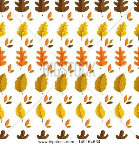 Vector autumn seamless pattern with oak and maple leaves. Autumn elements isolated on white background. Perfect for wallpaper gift paper pattern fills web page background autumn greeting cards.
