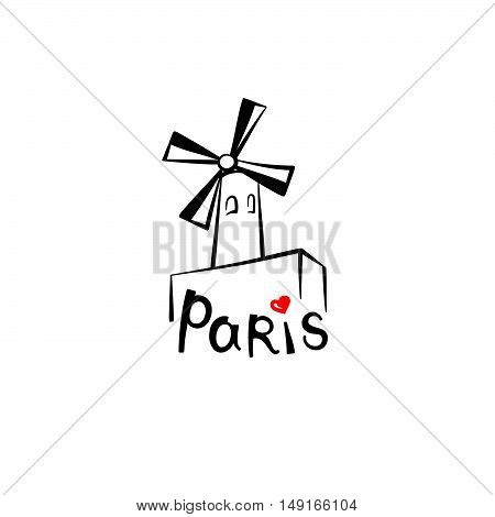 Paris sign. French famous landmark Moulin Rouge. Travel France label. Paris architectural icon with lettering