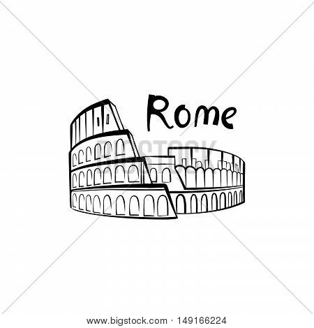 Rome Colosseum sign. Italian famous landmark Coliseum. Travel Italy label. Rome architectural icon with lettering