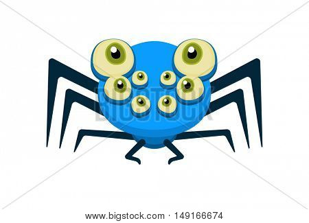 Cute blue spider with open eyes. Character design for Halloween poster or comic style flyer