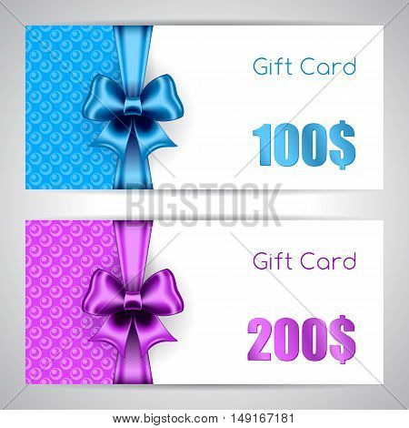 Gift card templates with silk ribbons and bows. Vector illustration