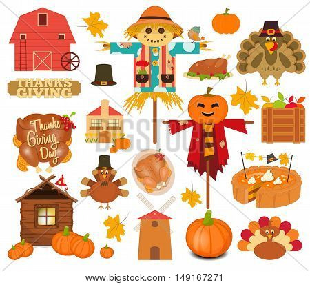Thanksgiving Set of Turkey Day Objects on White Background. Vector Illustration.