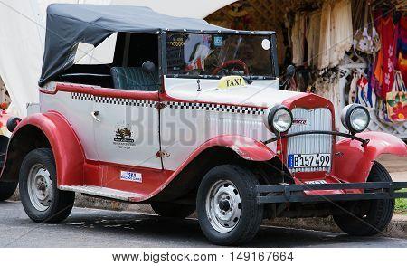 Varadero, Cuba - September 11, 2016:  classic car on the streets of Varadero