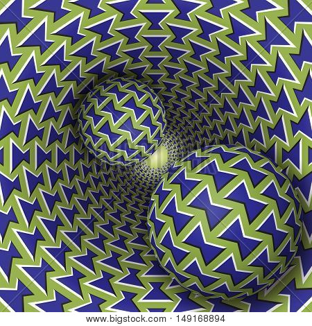 Optical illusion illustration. Two balls are moving on rotating funnel. Blue green bows pattern objects. Abstract fantasy in a surreal style.