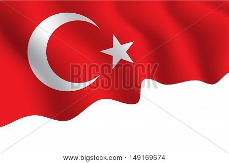 Turkey flag fabric flying wave and white space vector illustration.