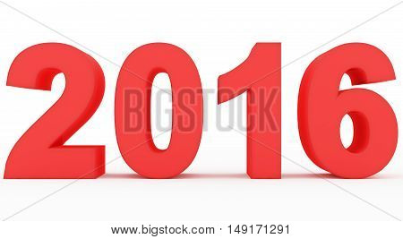 year 2016 red numbers isolated on white