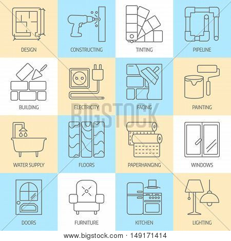 Vector set of modern flat line icons for home improvement website includes objects for finishing works, renovation and building elements . Interior design icons isolated on white.