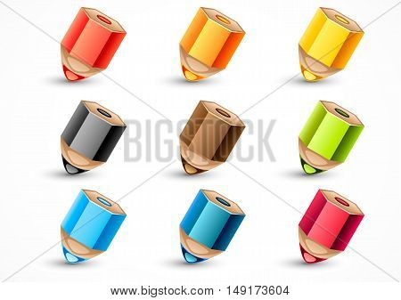 Set of nine colorful pencils on white background