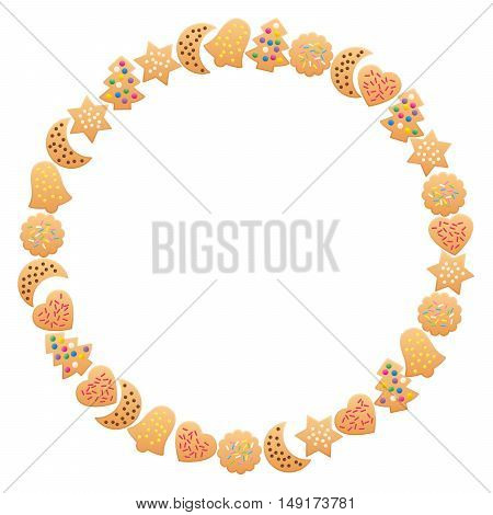 Christmas cookies forming a round frame. Isolated vector illustration on white background.