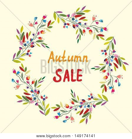 Autumn sale card with wreath of leaves and flowers - vector graphic illustration