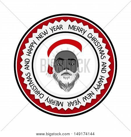 Vector monochrome flat logo daring hipster black Santa Claus fashion label silhouette with wishes Merry Christmas Happy New Year and cool beard Christmas background greeting card poster label.