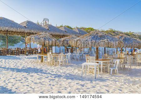 JERICOACOARA, BRAZIL, DECEMBER - 2015 - Outdoor restaurants at Lagoa do Paraiso beach in Jericoacoara Brazil