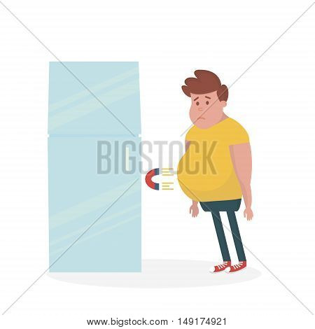 Fridge attracts fat man. Fat Man Standing Near the Fridge. Vector Illustration.