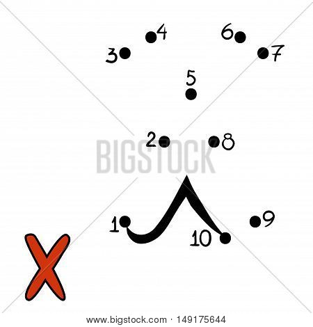 Numbers game for children, education dot to dot game, Letter  X