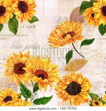 A seamless pattern with hand drawn vibrant yellow watercolor sunflowers on the background of old letters, postcards, and newspaper scraps mockups, vintage style floral repeat print