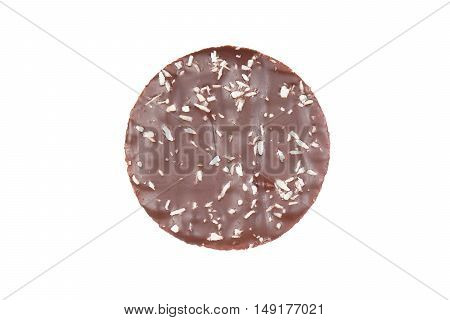 cookie with chocolate frosting and coconut flakes isolated on white background