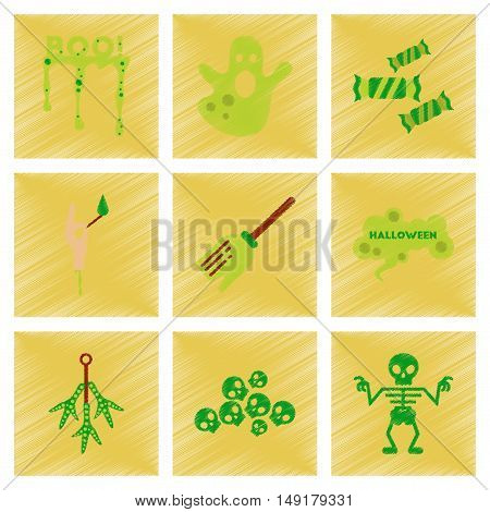 assembly flat shading style icons of halloween boo ghost candies Witch broom skeleton sign chicken feet skulls