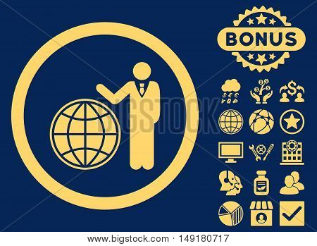 Global Manager icon with bonus images. Vector illustration style is flat iconic symbols yellow color blue background.