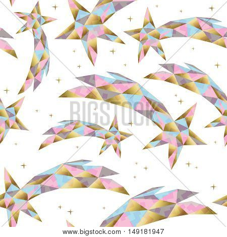 Gold Star Seamless Pattern For Holiday Season