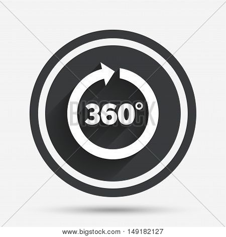 Angle 360 degrees sign icon. Geometry math symbol. Full rotation. Circle flat button with shadow and border. Vector