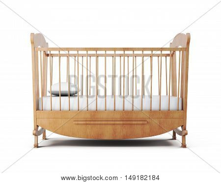 Cot Bed Isolated On White Background. 3D Rendering